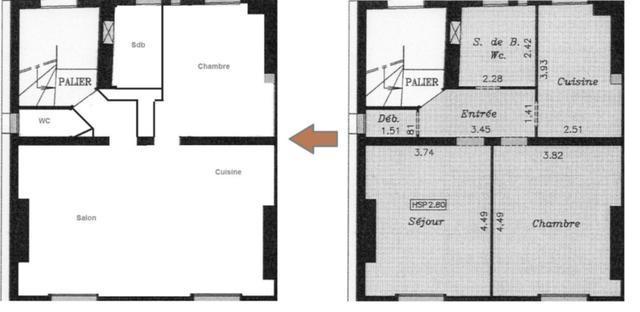 Déplacer cuisine + transformation ancienne cuisine en chambre + modification sdb + creation wc - 1